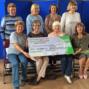Breda Dyland (Manager) of the Kerry Cancer Support Group received a cheque from Carol Hannon and other members of social group, Women 2000 Killorglin on Tuesday, CYMS Hall, Killorglin