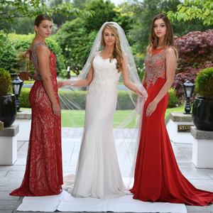 Models Ciara McCarthy, Rebecca Enright and Alix Quinn show off a wedding gown from Finesse Bridal Wear, Listowel alongside gowns from Be Fabulous Limerick and Hannon's of Castleisland at the launch of the 2016 Rose of Tralee Fashion Show at Ballygarry House in Tralee. Photo By Domnick Walsh Eye Focus