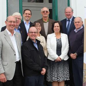Attending Valentia Cable Station during the150th celebrations were: Back (from left): Anthony O'Connell, Martin Shanahan, Bob Joyce, John Griffin, Michael Lyne. Front: Denis Jennings, Leonard Hobbs, Mary Rose Stafford, Moira Murrell