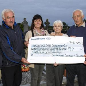 Members of the now wound-up Castleisland Community Council presenting the remainder of their funds to Castleisland Graveyard Committee members in Kilbanivane on Tuesday evening. Included are from left: Bernard Tangney, CGC; with former council officers: Charlie Farrelly, chairman; Joan Nolan and Maureen Hickey, treasurers; Jimmy O'Connell and Paddy O'Connor CGC. Castleisland Community Council also included James O'Connell as secretary and he was unavailable when the photograph was taken