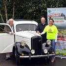 103 years old Michael O'Connor at the wheel of a vintage Ford car which will be raffled at the South Kerry Ploughing Championships and Harvest Show which will take place on Fleming's Farm, Fossa, on September 11. Also in photo are from left, Connie and Karen Brosnan, Killarney Brance of the Irish Kidney Association