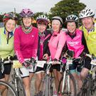 Mary Fealy, Marie O'Connell, Caroline Lynch, Maria Conway, Loretto O'Connor and Liam Gowan at the outset of Saturday's Ardfert Harvest Cycle