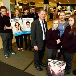 Students from Coláiste Gleann Lí in Tralee helped Penneys and the ISPCC launch their new anti-bullying campaign. Pictured at the launch are: Luke Stack, Ethan Byrne, Paul McCarthy, Melanie Smith, Rachel Dunne, Myrna Egan (CGL Anti-Bullying Co-ordinator), Mary Ann Lowney (CGL Assistant Principal), Sinead McKee (ISPCC National Anti Bullyning Co-Ordinator and John Carlin (manager Penneys Tralee)