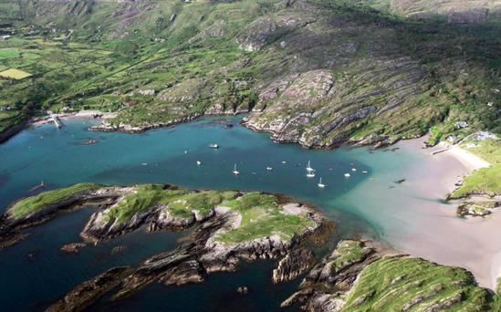 A stunning view of the crystal clear waters at Derrynane Harbour near Caherdaniel on the Ring of Kerry.