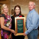 Grainne Keary and Brian Keary of Jacks Coastguard Restaurant, Cromane with Georgina Campbell receiving their prestigious best seafood restaurant 2017 at Bord Bia in Dublin. Photo Paul Sherwood