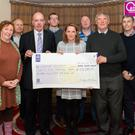 Una Brennan from the Kenmare Marketing and Events Group (front centre) presenting a cheque to front from left: Vicky Ridgway, David O'Brien, Neilie O'Leary and Steve Ellis, representing Cancer Connect. Back from left: Mickey Ned O'Sullivan (ROB committee), Oliver Kirwan (Director of Elite Events Management) and Darren Lynch (ROB committee). Presentation took place in the Brook Lane Hotel, Kenmare last Thursday. Photo by Marek Hajdasz