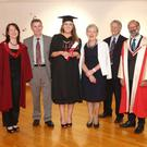 Pictured recently receiving the award with her parents John and Maura Earley is Prof. Kelly-Holmes, Prof. Emeritus Edward Maxon Browne and Dr Joachim Fischer, School of Modern Languages and Applied Linguistics and UL