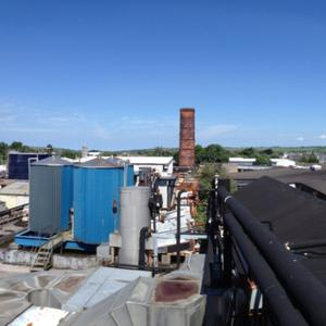 A view from the rooftops of the former Denny Plant in Tralee which is to be demolished in the coming months. The distinctive red-brick chimney will be all that remains when the demolition work is complete. Photos by Domnick Walsh Eye Focus