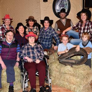 Agnes (back row second from left) and friends and family gather to launch The Bus Fund Barn Dance which will be held in Kate Kearney's this Sunday, October 23, at 7pm. Photos by Michelle Cooper Galvin