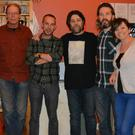 Leonard Barry (centre) pictured with 'New Road' at Siamsa Tíre on Wednesday night at the launch of their album