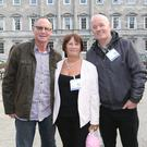 Stroke survivor Brian Carmody from Moyvane, along with his wife Mary Carmody and fellow stroke survivor Mick Naughton from Tralee pictured at last week's Oireachtas briefing in Leinster House ahead of World Stroke Day