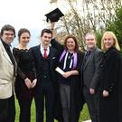 Liadh O'Sullivan of Glenflesk and Jack Teahan of Aghadoe who received their London College of Music Dip. Performance in Piano; Deirdre Keane, Killorglin who received her London College of Music Dip. in Piano Teaching and Danny Tobin who received his London College of Music Dip. in Guitar Performance, pictured with teachers (left) Sean and (right) Edel Treacy at the Kingdom Music Academy graduation in the Aghadoe Heights Hotel