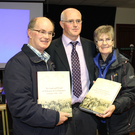 The Land and People of the Maharees author Martin Lynch (centre) with Martin Finn and Mary Ellen Finn at the book's big launch