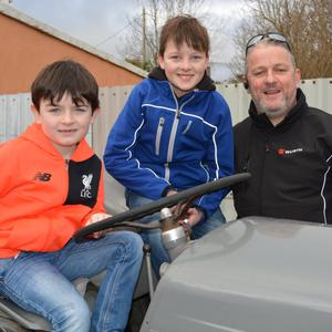Declan, Oran and OJ Foley (Killorglin) pictured enjoying themselves at the James Ashe Memorial Vintage Tractor Run in Boolteens, Castlmaine on Sunday morning