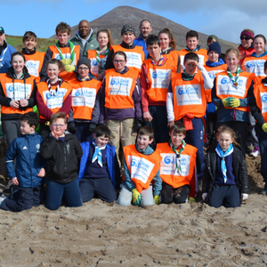 Scouts with their leaders and members of Kerry County Council and An Taisce at Inch Beach on Sunday morning where they had been planting Marram Grass to help rebuild the sand dunes