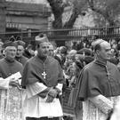 Bishop Eamon Casey (second right) and other bishops arriving for the funeral Mass in the Pro-Cathedral for the former Archbishop of Dublin Dr John Charles McQuaid in March 1973
