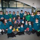 'Healthy living' students in Maounthawk and (below) students Leah HIckey and Saoirse Murphy with Kerry camogie stars Olivia Dineen and Nessa McGart , Kerry ladies footballers Louise Ní Mhuircheartaigh and Amanda Brosnan and Kerry basketballer Lara Flynn