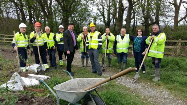 LEFT TO RIGHT: Jimmy Jones, Seamus Roche, Denny Flaherty, Raymond McGibney, Andy Smith, Eamon Collins, Gerry Crean, Chris Flahavan, Dianne Nolan Member and Nicolas Mulvihill helping out with tree planting in Moyvane.