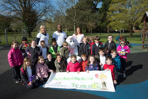 Sliabh a' Mhadra NS pupils gather in their school for the Annual Sponsored Walk on Saturday
