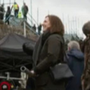 Lucasfilm President Kathleen Kennedy on set at Ceann Sibéal