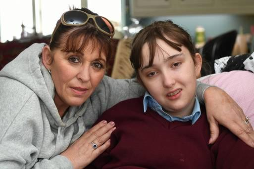 Margaret McElligot from Kilfynn pictured at home with her 16 year old daughter, Tina, who suffers from the rare genetic condition Alpers Syndrome. Photo by Dominick Walsh.