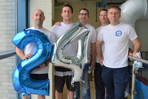 Kristian O' Donovan, Kyle O' Donovan, Kieran O' Flaherty, Paul Skelly and Alex O' Donovan pictured getting ready to set off on their 24 miles in 24hr swim challenge in Tralee Sports & Leisure Complex on Saturday morning. Photo by Fergus Dennehy.