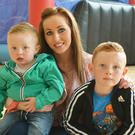 Charlene Driscoll pictured with Conor and Aaron O' Shea at the family fun day in at John Mitchell's GAA centre on Sunday