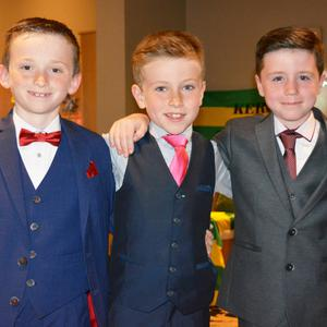 David Sargant, Eanna Ryle and Brogan Hurley pictured looking sharp at the Caherleaheen N.S fashion show in Ballyroe Heights Hotel on Thursday night. All photos by Fergus Dennehy.