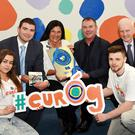 Antje Rothemund, Head of Youth Department, Council of Europe, presenting the Council of Europe European Quality Labelfor Youth Centres to eurÓg's Tim O'Donoghue CEO KDYS with Amy Flynn and Ronan Galvin with the new eurÓg logo with Deputy Brendan Griffin and (right) Ferghal Lynch, Principal Officer Department of Children and Youth Affairs, at the KDYS, Killarney on Tuesday. Photo by Michelle Cooper Galvin