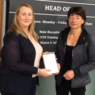 Brenda Kirby, Tralee, presented with a Samsung 'tablet' prize by Sharon Browne of KETB, which she won in a competition held in conjunction with the fair