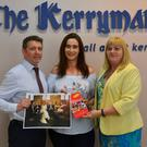 Editor of The Kerryman, Kevin Hughes pictured with Advertising Manager Siobhán Murphy as they present the winner of The Kerryman Wedding Photo competition, Sharleen Battles, with her €1,000 holiday voucher. Photo by Fergus Dennehy.