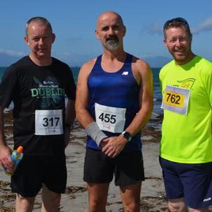 Joe Carroll, Paul Sweeney, Brian Cahill and Derry Sheey enjoying the atmosphere at the 'Half on the Head' run on Saturday morning.