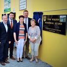 At the unveiling of the plaque on the Tom Wrenn Memorial Stand with the late Mr Wrenn's wife and daughter, Breda and Bríd were: Maurice Costello, Pat Ahern, Charlie Farrelly, Richard O'Donoghue, Seán Kelly, MEP; Minister of State at the Department of Transport, Tourism and Sport Brendan Griffin; Bríd Wrenn, Tim Murphy, Kerry County Board chairman and Breda Wrenn. Photo courtesy of Nora Fealey