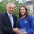 Mick O'Connell presents first place in the 2017 National Life Advocate Awards to Emma Dinneen of St Brigid's Presentation Secondary School