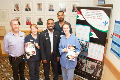 Dr Kamal Abdalla, Dr Ahmed Mohamed,Margert Cotter,Amanda Hogan and Chris Brennan of the Bons Secour Hospital Tralee Sudan fundraisers launch their 'Blast From The Past' Disco at the Hospital on Thursday morning