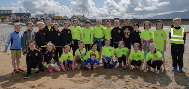 Members of the Junior Triathlon Club pictured at the Tri Kingdom Come Triathlon in Fenit on Saturday morning. Photo by Gordon Thompson