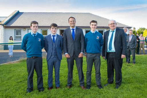 Taoiseach Leo Varadkar and St Michael's Principal John Mulvihill with students Jack Finnerty, Darragh McAuliffe and head boy Daniel Sheehan