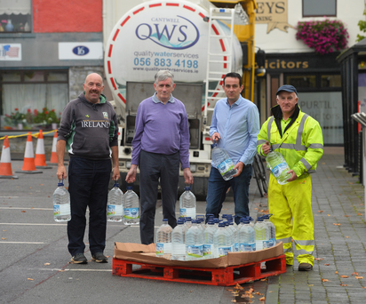 Mike Buckley, John McAuliffe, Cllr Jimmy Moloney and John McGrath at the water depot in the Square