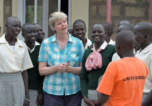 Sister Orla Treacy with girls at Loreto Secondary School, Rumbek