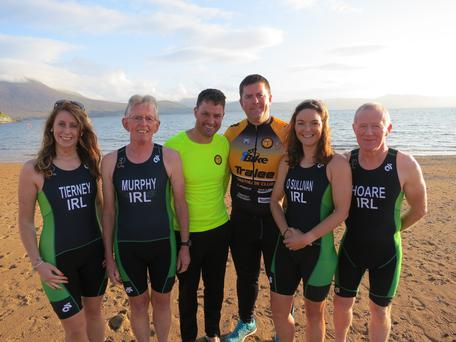 From left: Ciara Tierney, Paudie Murphy, Philip Dewey (committee member), John Quilter (club chairman), Suzanne O'Sullivan and Seamus Hoare during their recent training for the ITU World Triathlon Championships later this month