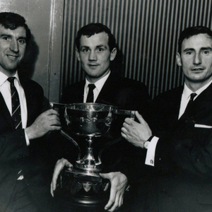 Members of the Clanna Gael Football Club with the Dublin County Senior Football Championship trophy at the Spa Hotel, Lucan in 1968. From left: Mick Byrne (Irish International soccer physio), Mossie O'Driscoll (Valentia and captain), Mickey Whelan (former Dublin footballer and manager).