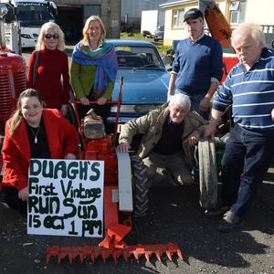 Shannon and Ethan McCormack, Margaret O'Connor, Pat France. Back, from left: Batsy Maher, Bernie Noonan, Sandara Maher, Tom Daly and Moss Gaire launching Duagh 'First Vintage Run' taking place in Duagh on Sunday, October 15, from 1pm. Photo by Domnick Walsh