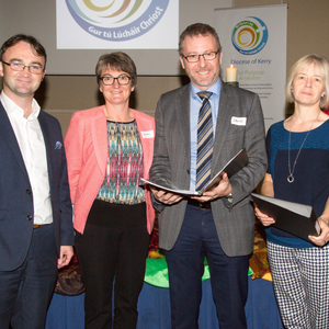 Keynote speaker Dr Dan O'Connell at the Diocese of Kerry Assembly in Brandon Hotel, Tralee on Sunday with, from left: Tomás Kenny, Aileen Murphy, Dr Dan O'Connell, Frances Rowland and Ger Kennelly (Knockanure)