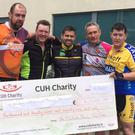 The group who cycled from South Kerry to Cork City to raise funds for Cork University Hospital in appreciation of the care received there by the the late Michael Joseph O'Sullivan of The Glen