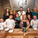 Ardfert NS Principal Betty Stack with the talents of Tralee's Croí Restaurant - Paul Cotter, Noel Keane and Kevin O'Connor - pupils and staff at the launch of the school's fundraising Christmas Cookery Demonstration, taking place at Ballyroe on November 9.
