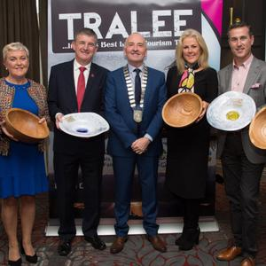 Tralee Chamber Alliance President Aidan Kelly with the winners of the Tralee Business People Awards for July to December.