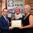 Clair Kelly and Jo Arbon, The Busy Botanist, Glenbeigh, County Kerry, overall winners of the Best Emerging Artisan Product for their 'Tum Ease' pictured receiving their award from Paul O'Connor, SuperValu and Mary Coleman, Listowel Food Fair at the presentation of awards in The Listowel Arms Hotel at the weekend. Photo by Don MacMonagle