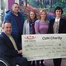 Pictured at the cheque handover in March of this year were Damian McGovern, Business Manager, CUH; Mike O'Shea; Maureen Garvey; Claire Garvey; Miriam Forde, CUH Charity and John Garvey with a cheque for €10,075 presented to Cork University Hospital.
