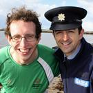 Athlete Brendan O'Connell and Gda Aidan O'Mahony launch the Fenit Polar Swim.