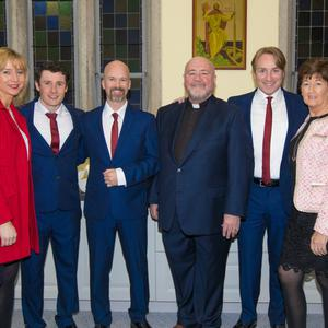 Jacqueline Stackpoole, Noreen Roche and Fr Kevin McNamara with the three tenors Dominic McGorian, Derek Moloney and Shane Morgan last week.